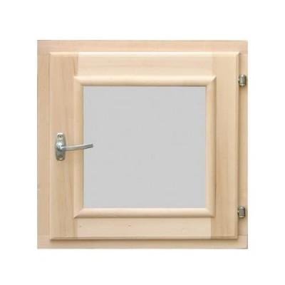 Деревянное окно для бани 600 × 600 миллиметров